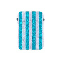 Stripes1 White Marble & Turquoise Marble Apple Ipad Mini Protective Soft Cases by trendistuff