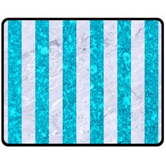 Stripes1 White Marble & Turquoise Marble Double Sided Fleece Blanket (medium)  by trendistuff