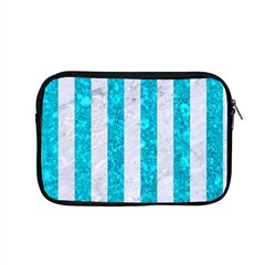 Stripes1 White Marble & Turquoise Marble Apple Macbook Pro 15  Zipper Case by trendistuff