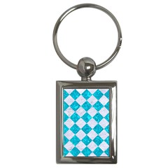 Square2 White Marble & Turquoise Marble Key Chains (rectangle)  by trendistuff