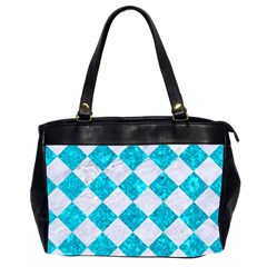 Square2 White Marble & Turquoise Marble Office Handbags (2 Sides)  by trendistuff