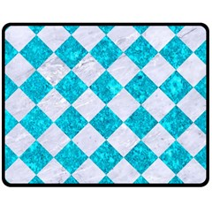 Square2 White Marble & Turquoise Marble Double Sided Fleece Blanket (medium)  by trendistuff