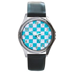 Square1 White Marble & Turquoise Marble Round Metal Watch