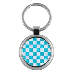 Square1 White Marble & Turquoise Marble Key Chains (round)  by trendistuff