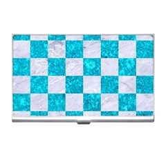 Square1 White Marble & Turquoise Marble Business Card Holders by trendistuff