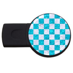 Square1 White Marble & Turquoise Marble Usb Flash Drive Round (4 Gb) by trendistuff