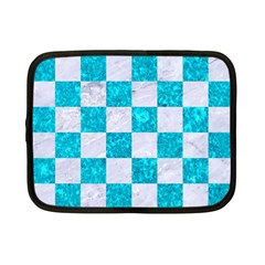 Square1 White Marble & Turquoise Marble Netbook Case (small)  by trendistuff