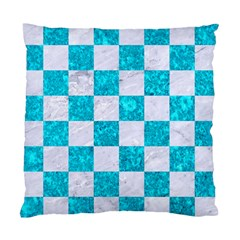 Square1 White Marble & Turquoise Marble Standard Cushion Case (one Side) by trendistuff