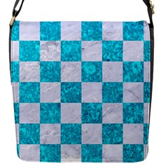 Square1 White Marble & Turquoise Marble Flap Messenger Bag (s) by trendistuff