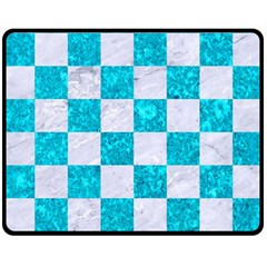 Square1 White Marble & Turquoise Marble Double Sided Fleece Blanket (medium)  by trendistuff
