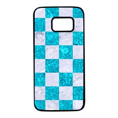 Square1 White Marble & Turquoise Marble Samsung Galaxy S7 Black Seamless Case by trendistuff