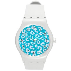 Skin5 White Marble & Turquoise Marble (r) Round Plastic Sport Watch (m) by trendistuff