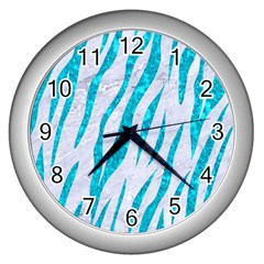 Skin3 White Marble & Turquoise Marble (r) Wall Clocks (silver)  by trendistuff