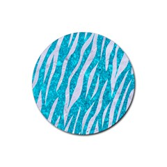 Skin3 White Marble & Turquoise Marble Rubber Coaster (round)  by trendistuff