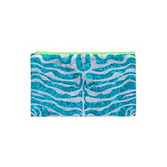 Skin2 White Marble & Turquoise Marble Cosmetic Bag (xs) by trendistuff