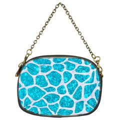 Skin1 White Marble & Turquoise Marble (r) Chain Purses (two Sides)  by trendistuff