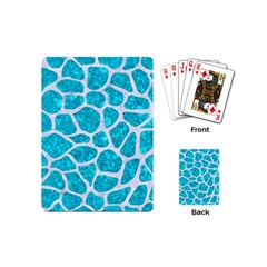 Skin1 White Marble & Turquoise Marble (r) Playing Cards (mini)  by trendistuff