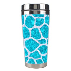 Skin1 White Marble & Turquoise Marble (r) Stainless Steel Travel Tumblers by trendistuff