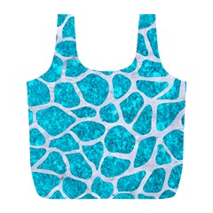 Skin1 White Marble & Turquoise Marble (r) Full Print Recycle Bags (l)  by trendistuff