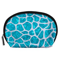 Skin1 White Marble & Turquoise Marble (r) Accessory Pouches (large)  by trendistuff