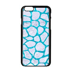 Skin1 White Marble & Turquoise Marble Apple Iphone 6/6s Black Enamel Case by trendistuff