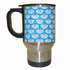 Scales3 White Marble & Turquoise Marble (r) Travel Mugs (white) by trendistuff