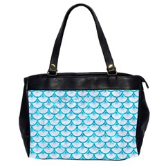 Scales3 White Marble & Turquoise Marble (r) Office Handbags (2 Sides)  by trendistuff