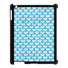 Scales3 White Marble & Turquoise Marble (r) Apple Ipad 3/4 Case (black) by trendistuff