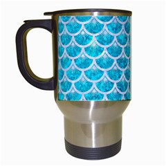 Scales3 White Marble & Turquoise Marble Travel Mugs (white) by trendistuff