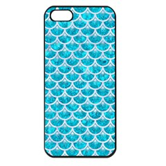 Scales3 White Marble & Turquoise Marble Apple Iphone 5 Seamless Case (black) by trendistuff