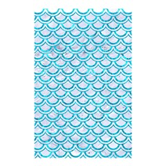 Scales2 White Marble & Turquoise Marble (r) Shower Curtain 48  X 72  (small)  by trendistuff
