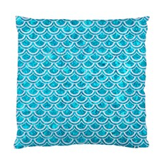Scales2 White Marble & Turquoise Marble Standard Cushion Case (one Side) by trendistuff
