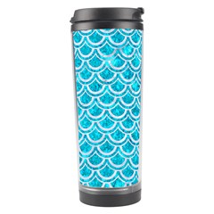 Scales2 White Marble & Turquoise Marble Travel Tumbler by trendistuff