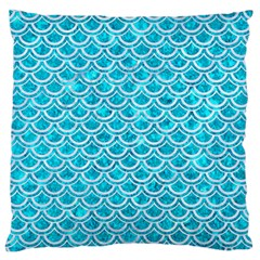 Scales2 White Marble & Turquoise Marble Large Flano Cushion Case (one Side) by trendistuff
