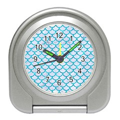Scales1 White Marble & Turquoise Marble (r) Travel Alarm Clocks by trendistuff