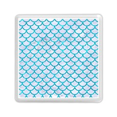 Scales1 White Marble & Turquoise Marble (r) Memory Card Reader (square)  by trendistuff