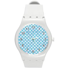 Scales1 White Marble & Turquoise Marble (r) Round Plastic Sport Watch (m) by trendistuff