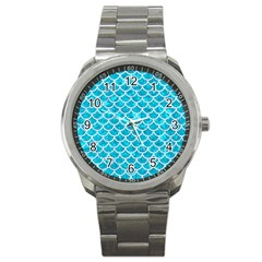 Scales1 White Marble & Turquoise Marble Sport Metal Watch by trendistuff