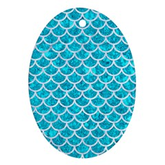 Scales1 White Marble & Turquoise Marble Oval Ornament (two Sides) by trendistuff