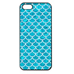 Scales1 White Marble & Turquoise Marble Apple Iphone 5 Seamless Case (black) by trendistuff