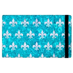 Royal1 White Marble & Turquoise Marble (r) Apple Ipad 3/4 Flip Case by trendistuff