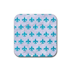Royal1 White Marble & Turquoise Marble Rubber Square Coaster (4 Pack)  by trendistuff