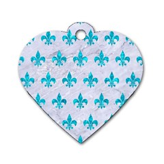 Royal1 White Marble & Turquoise Marble Dog Tag Heart (two Sides) by trendistuff