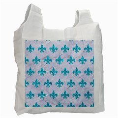 Royal1 White Marble & Turquoise Marble Recycle Bag (two Side)  by trendistuff