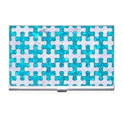 Puzzle1 White Marble & Turquoise Marble Business Card Holders by trendistuff