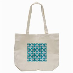 Puzzle1 White Marble & Turquoise Marble Tote Bag (cream) by trendistuff