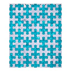 Puzzle1 White Marble & Turquoise Marble Shower Curtain 60  X 72  (medium)  by trendistuff