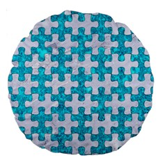 Puzzle1 White Marble & Turquoise Marble Large 18  Premium Round Cushions by trendistuff