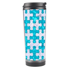 Puzzle1 White Marble & Turquoise Marble Travel Tumbler by trendistuff