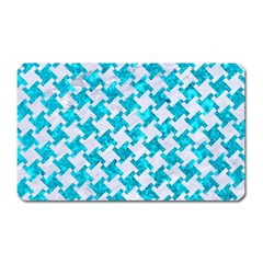 Houndstooth2 White Marble & Turquoise Marble Magnet (rectangular) by trendistuff